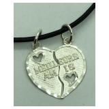 Silver Split Heart Pendant JC