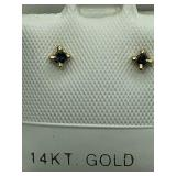 14K Yellow Gold Green Diamond Earrings JC