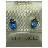 18K Yellow Gold Blue Topaz Earrings JC