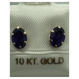 10K Yellow Gold Amethyst Earrings JC