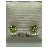 14K Yellow Gold Peridot  Earrings JC