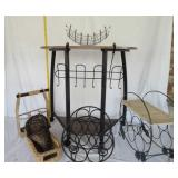 Wooden Metal Table and Wine & Magazine Rack U11A