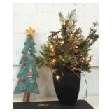 Potted Faux Christmas Tree and More K14G