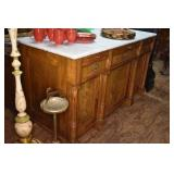 EARLY WALNUT MARBLE TOP SERVER