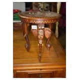 INLAID MIDDLE EASTERN PLANT STAND W/ ELEPHANT HEAD