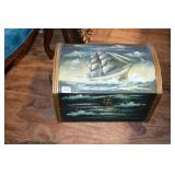 PAINTED CHEST W/ CONTENTS