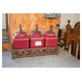 CERAMIC CANISTER SET 3PCS W/ WROUGHT IRON STAND