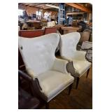 PAIR OF WHITE LEATHER FIRESIDE CHAIRS