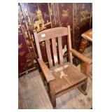 MISSION STYLE OAK CHILDS ROCKING CHAIR