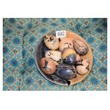 9 CARVED STONE EGGS & A BOWL