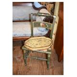 PAINTED HITCHCOCK CHAIR & PAINTED TOILE TRAY