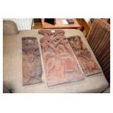 3 HAND CARVED AFRICAN WALL ART PCS
