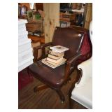 ANTIQUE LEATHER OFFICE CHAIR & BOOKS
