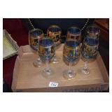 7 DECORATIVE WINE GLASSES