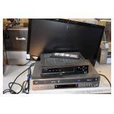 LED TV (NO STAND), GO VIDEO DVD VCR & CISCO BOX