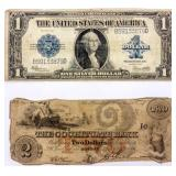 Coin 2 Old U.S. Currency Notes $2 1860 & 1923 $1