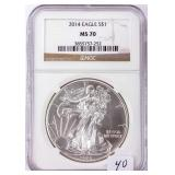 Coin 2014 U.S. American Silver Eagle NGC MS70