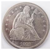 Coin 1872 United States Seated Dollar Extra Fine