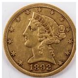 Coin 1892-CC $5 Liberty Gold Piece XF Key!