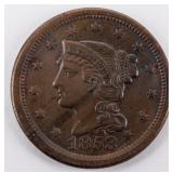 Coin 1853 United States Large Cent Choice!