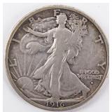 Coin 1916-D Walking Liberty Half Dollar Very  Fine