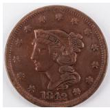 Coin 1842 United States Large Cent Almost Unc.