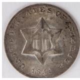 Coin 1851 3¢ Silver Gem Brilliant Uncirculated