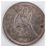 Coin 1877-S Seated Quarter Choice Almost Unc.