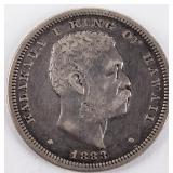 Coin 1883 Hawaii Silver Half Dollar Very Fine!