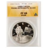 Coin 1988 Proof Young Astronauts Silver ANACS PF68