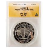 Coin 1999 Proof Yellowstone Silver $ ANACS PF68