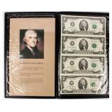 Coin Uncut $2 Notes (4) 2003A  With History