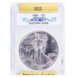 Coin 1991  American Silver Eagle SGS MS70