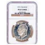 Coin 1971-S Silver Proof Ike Dollar NGC PF67 Cameo
