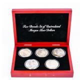 Coin 5 Morgan Silver Dollars in Case Brilliant Unc