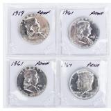 Coin 4 Proof  Half Dollars Kennedy / Franklin