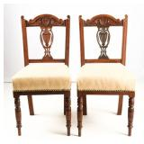 Set of Two Edwardian Walnut Antique Dining Chairs