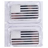 Coin 2 Troy Ounce USA Flag Silver Bars