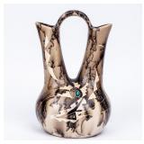 Signed Navajo Horsehair Wedding Vase  S. Smith