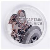 """Coin 2019 Tuvalu """"Captain America 1 OZ .999 Silver"""