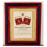 Framed Certificate Coldstream Guards WWI