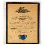 Certificate US Navy Promotion WWI