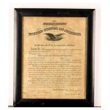 Framed Antique Certificate WWI Promotion