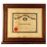 Framed Certificate Promotion to Senior Vice Com.