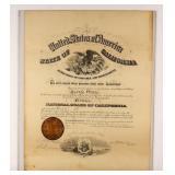Certificate Antique California Promotion