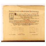 Certificate General Society Mayflower Descendants