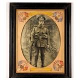 Framed Photograph World War I British Soldier