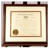 Certificate Antique California Civil War Militia