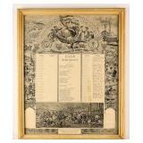 Framed Certificate Company K 157 Regiment 1898