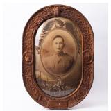 Framed Photograph Uniformed Soldier Circa WWI